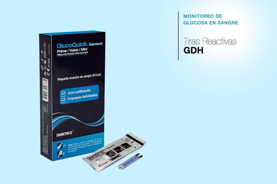 Tiras reactivas de glucosa en sangre GDH - GlucoQuick Diamond
